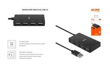 Hub USB ACME HB510, 4 porty USB 2.0, wtyk USB 2.0