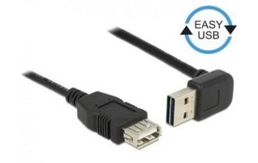 Przedłużacz USB 2.0 Delock A(M) - A(F) 0,5m czarny kątowy góra/dół Easy-USB