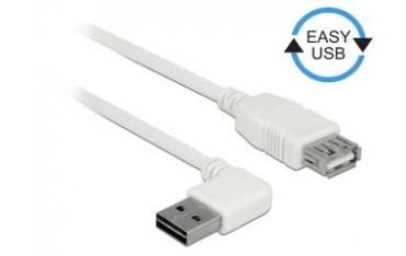 Przedłużacz USB 2.0 Delock A(M) - A(F) 0,5m biały kątowy lewo/prawo Easy-USB