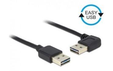 Kabel USB 2.0 Delock A(M) - A(M) 0,5m czarny kątowy lewo/prawo Easy-USB