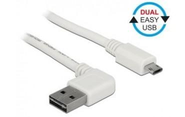 Kabel USB 2.0 Delock A(M) - micro B(M) 2m biały kątowy lewo/prawo Easy-USB