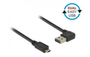 Kabel USB 2.0 Delock A(M) - micro B(M) 0,5m czarny kątowy lewo/prawo Dual Easy-USB