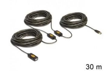 Przedłużacz Delock USB AM-AF 2.0 30m aktywny black