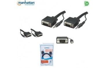 Kabel VGA Manhattan SVGA-G-045 15 M/15 M, z audio 4,5m, ekranowany,czarny ICOC