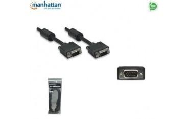 Kabel VGA Manhattan C-SVGAD7 SVGA 15 M/15 M, 7,5m, ferryt,, czarny