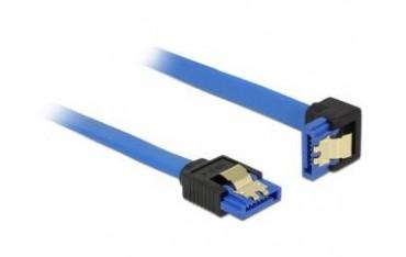 Kabel SATA Delock SATA-III DATA 0,70m z zatrzaskami metalowymi niebieski kątowy prosto/dół