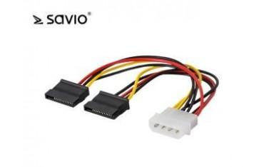 Kabel zasilający Savio AK-13 Molex - 2 x SATA 0,18m