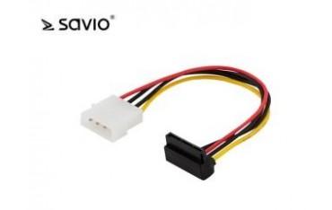 Kabel zasilający Savio AK-11 Molex 4pin M - SATA 15 pin F Kątowy