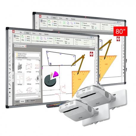 Zestaw Tablica interaktywna 2 tablica interaktywna Avtek TT-BOARD 80 Pro 2x projektor ultrakrótkoogniskowy Epson EB-670
