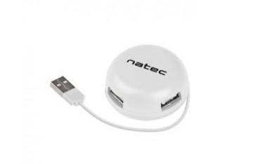 Hub USB Natec 4x USB 2.0 Bumblebee biały