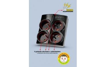Listwa zasilająca Acar X4 czarna / urządzenie naścienne /