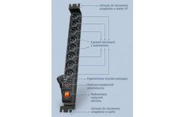 Listwa zasilająca Acar S8 FA RACK 3,0m czarna
