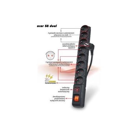 Listwa zasilająca Acar S8 DUAL 5m czarna