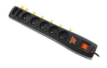 Listwa zasilająca Acar P7 3,0m 7 gniazd automat czarna