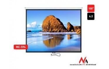 """Ekran projekcyjny Maclean MC-594 100"""" 4:3 200x150 auto-lock biały matowy ściana lub sufit"""