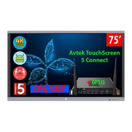Monitor interaktywny Avtek TouchScreen 5 Connect 75 4K ops i3