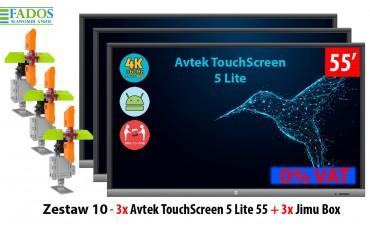 Monitor interaktywny Zestaw 10 - 3x Avtek TouchScreen 5 Lite 55, 3x Jimu Box