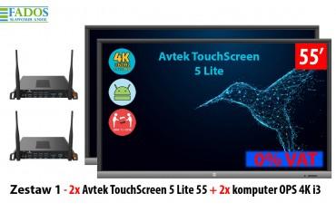 Zestaw Monitor 1 2 x monitor interaktywny TouchScreen 5 Lite 55, 2x Avtek OPS 4K i3
