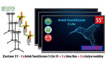 Monitor interaktywny Zestaw 31 - 3 x Avtek TouchScreen 5 Lite 55 + 3 x Jimu Box + 3 x statyw mobilny