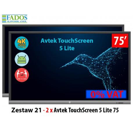 Zestaw 21 - 2 x Avtek TouchScreen 5 Lite 75 cali 4 K 17500