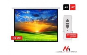 """Ekran projekcyjny elektryczny Maclean MC-592 100"""" 4:3 200x150 auto-lock biały matowy ściana lub sufit"""