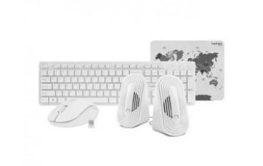 Zestaw bezprzewodowy klawiatura + mysz + głośniki + podkładka Natec Tetra biały