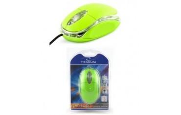 Mysz przewodowa Titanum 3D RAPTOR TM102G optyczna zielono-przezroczysta