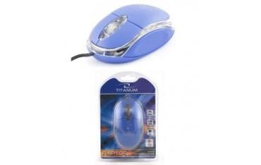 Mysz przewodowa Titanum 3D RAPTOR TM102B optyczna niebiesko-przezroczysta