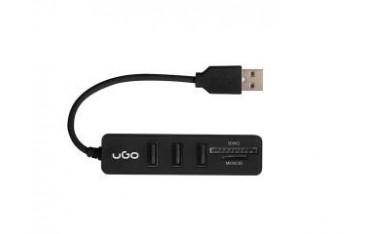 Hub USB 2.0 UGO Maipo HU200 3-portowy czarny + czytnik SD/micro SD