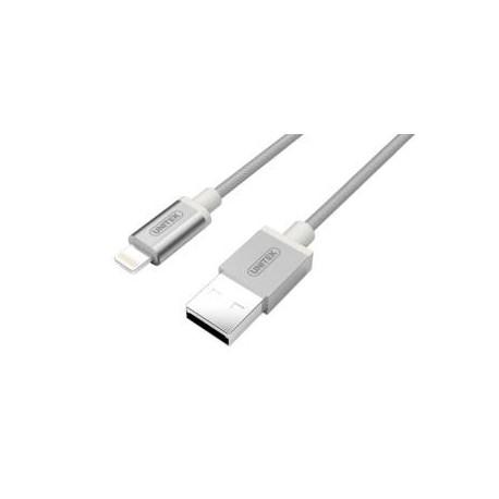 Kabel USB - Lightning Unitek Y-C499ASL 100cm, srebrny, iPod, iPhone, iPad