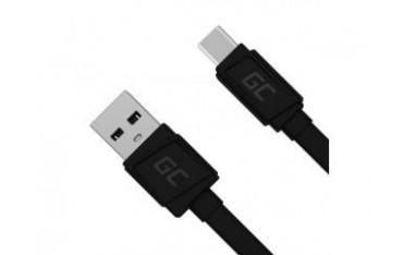 Kabel Green Cell USB-C Płaski 25 cm z obsługą szybkiego ładowania