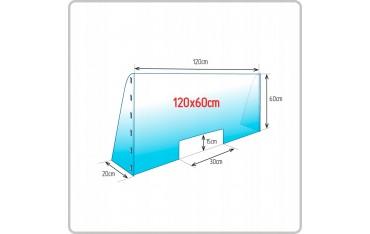 Osłona przegroda przeciwwirusowa z boczkami z poliwęglanu - plexi 3 mm 120 x 100 cm
