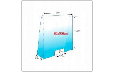 Osłona przegroda przeciwwirusowa z boczkami na biurko ladę z poliwęglanu - plexi 3 mm 80 x 100 cm