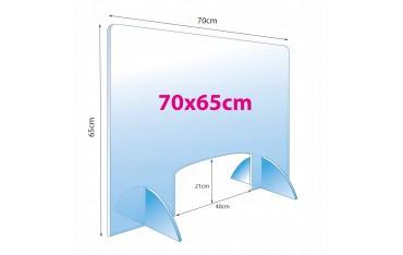 Osłona przeciwwirusowa do salonu kosmetycznego plexi 4 mm 70 x 65 cm
