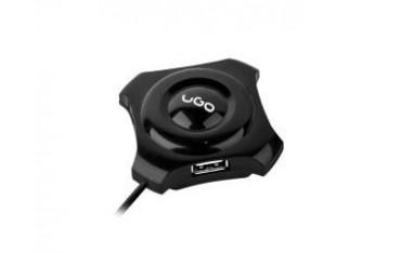 Hub USB 2.0 UGO Maipo HU50 4-portowy czarny + port DC 3.5
