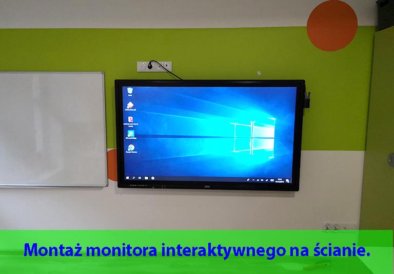 Usługa montażu monitora interaktywnego na ścianie ze szkoleniem z obsługi.