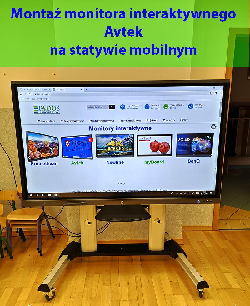 Usługa montażu monitora interaktywnego na statywie mobilnym.