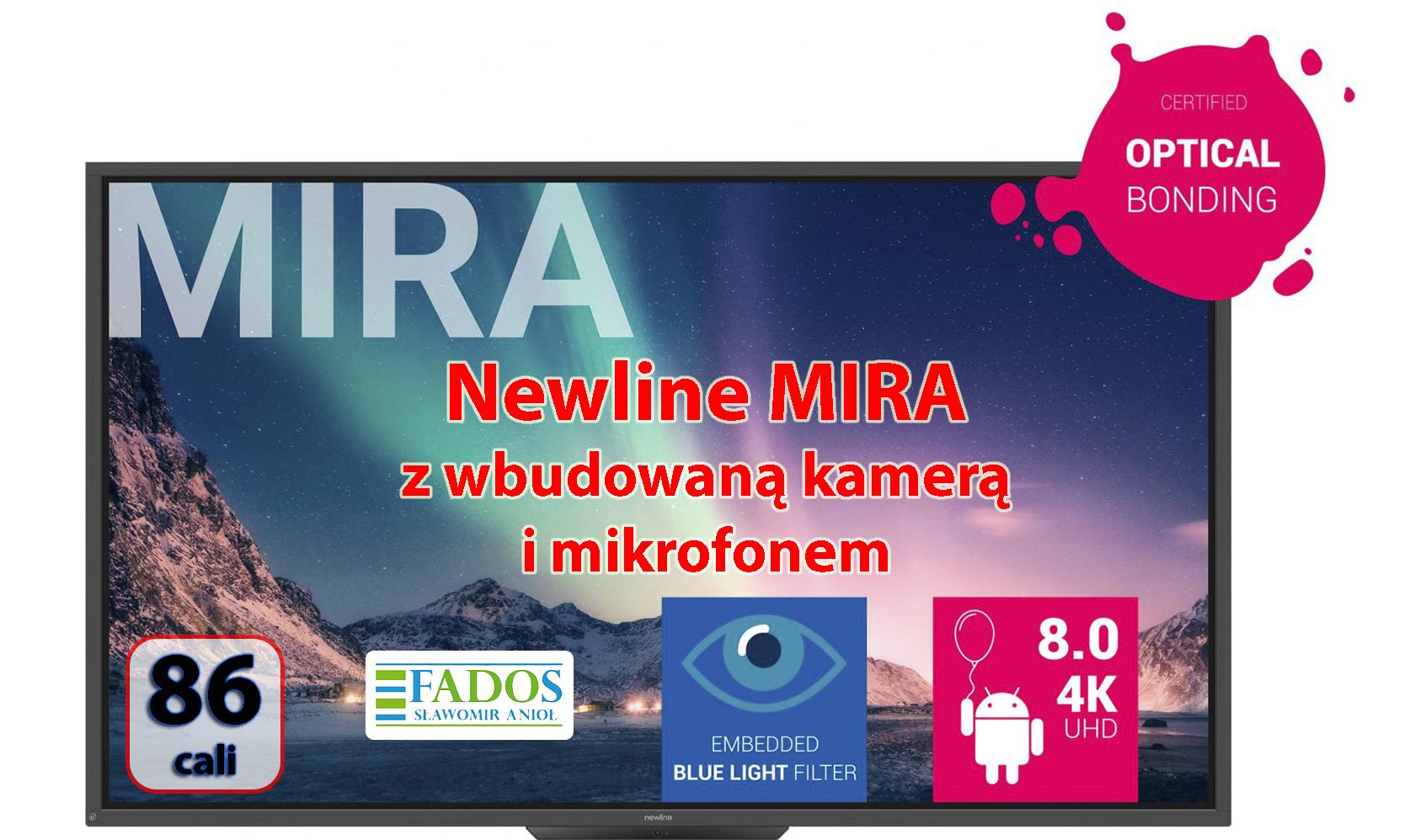 Monitor interaktywny 86 cali Newline MIRA TT-8620HO z wbudowaną kamerą i mikrofonem