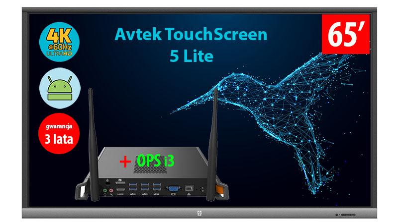 Monitor interaktywny Avtek Touchscreen 5 Lite 65 cali 4K z wbudowanym komputerem OPS i3