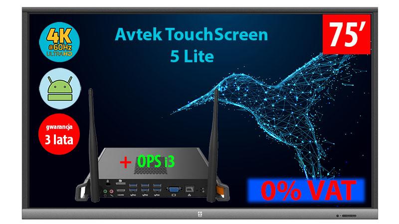 Monitor interaktywny Avtek TouchScreen 5 Lite 75 cali 4 K z wbudowanym komputerem OPS i3