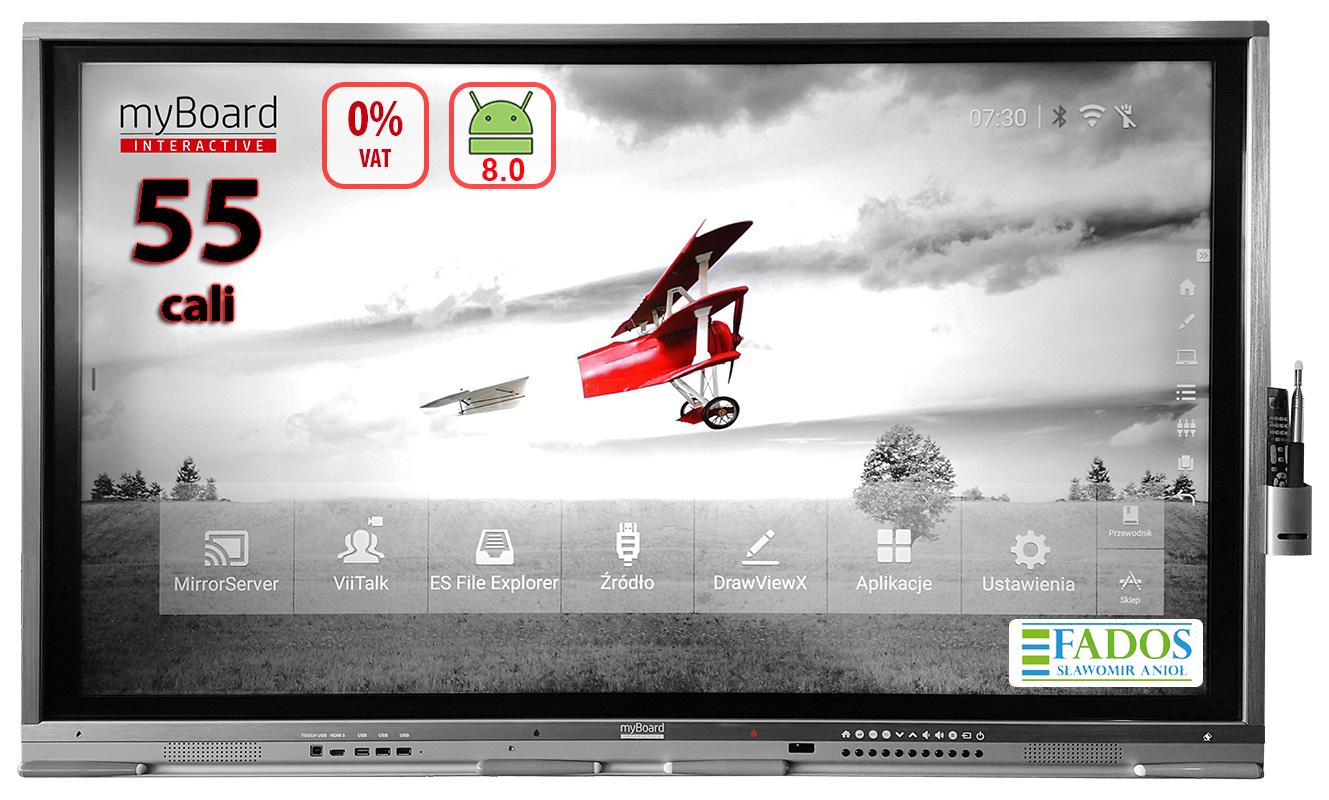 "Monitor interaktywny myBoard Grey TE-MP 55"" 4K UHD z Androidem + wbudowany komputer OPS Plus i3-7100 EDU 0 VAT"