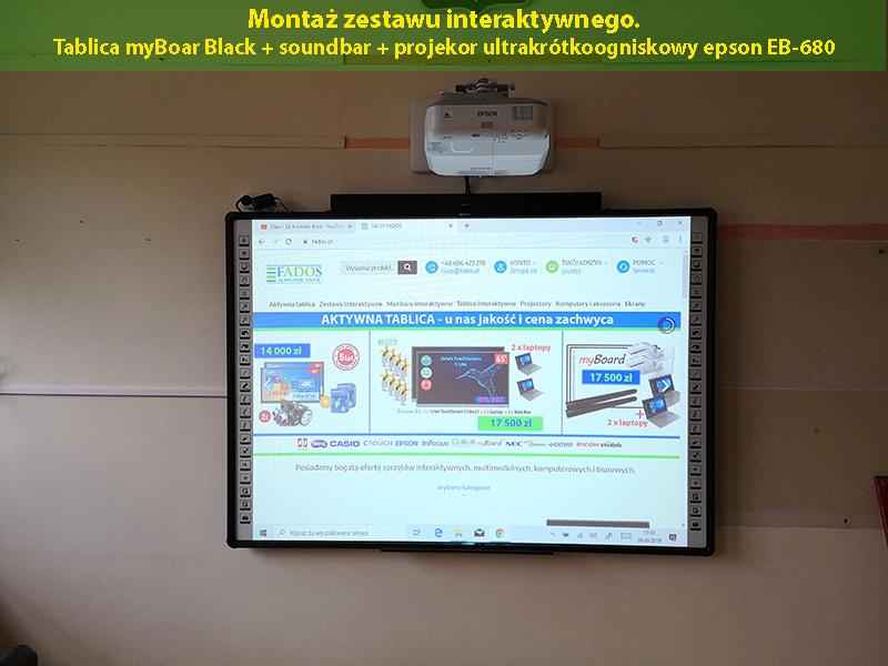 Usługa montażu tablicy zestawu interaktywnego na ścianie ze szkoleniem z obsługi.