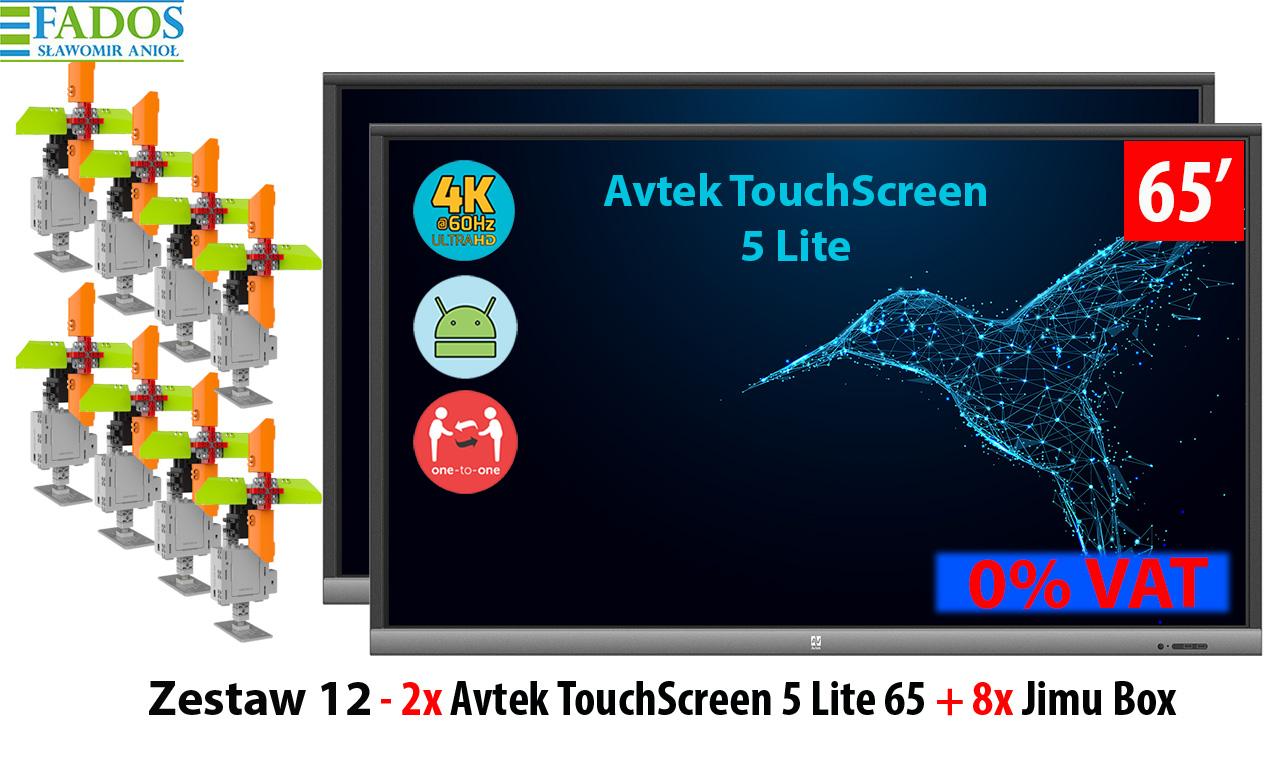 Monitor interaktywny Zestaw 12 - 2 x Avtek TouchScreen 5 Lite 65, 8 x Jimu Box
