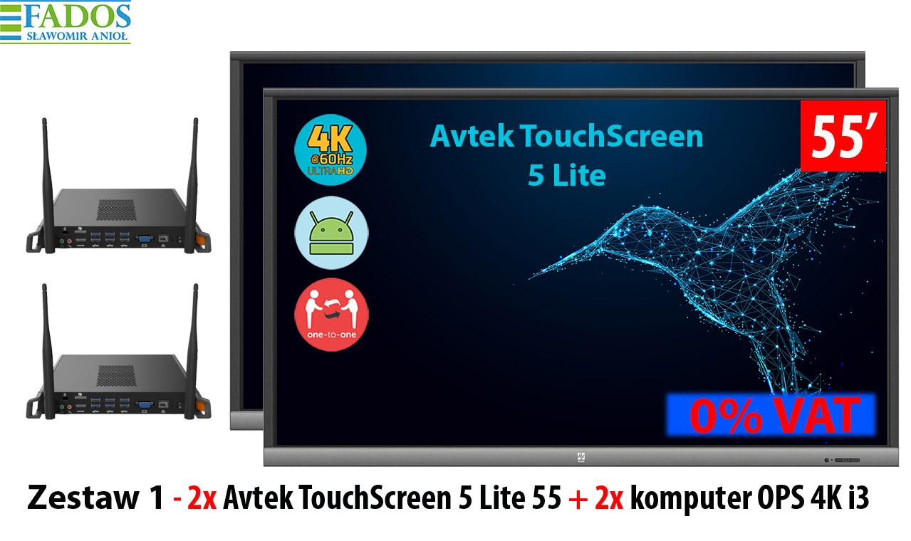 Zestaw Monitor 1 2 x TouchScreen 5 Lite 55, 2 x OPS 4K i3)