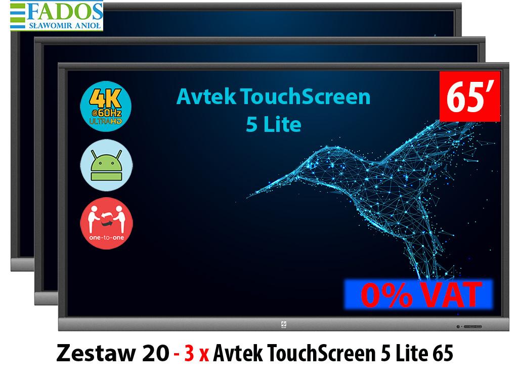 Zestaw aktywna tablica 3 x monitor interaktywny 65 cali
