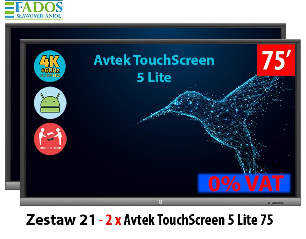 Zestaw 2 x monitor interaktywny 75 cali aktywna tablica